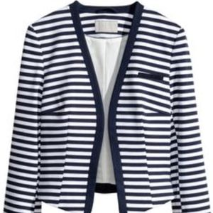 Navy White Striped Blazer Cropped Sailor Jacket
